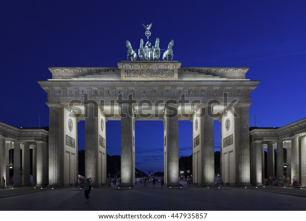 Brandenburg Gate Berlin at twilight with a clear blue sky