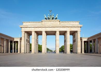 Brandenburg gate, blue sky, Berlin, Germany