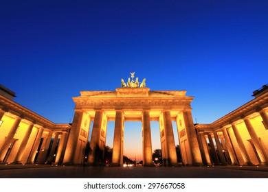 Brandenburg Gate (Brandenburger Tor) in Berlin, Germany at twilight