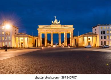 Brandenburg Gate (Brandenburger Tor), Berlin, Germany at twilight