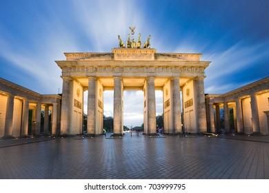 Brandenburg gate or Brandenburger Tor in Berlin, Germany at night.