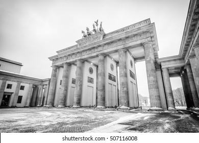 Brandenburg gate (Brandenburger Tor) in snow, Berlin, Germany, Europe, Black and white