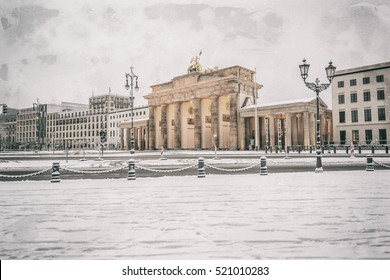 Brandenburg gate (Brandenburger Tor) in snow, Berlin, Germany, Europe, Retro filtered style