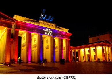 brandenburg gate, colorful illuminated