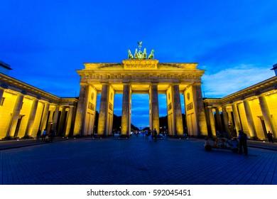 Brandenburg gate during sunset in Berlin.