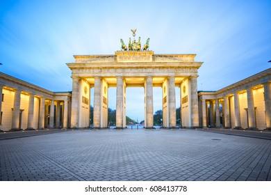 Brandenburg Gate at night in Berlin city, Germany.