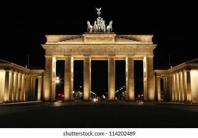 The Brandenburg Gate at night. Berlin, Germany.