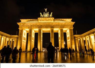The Brandenburg Gate at night, in Berlin, Germany