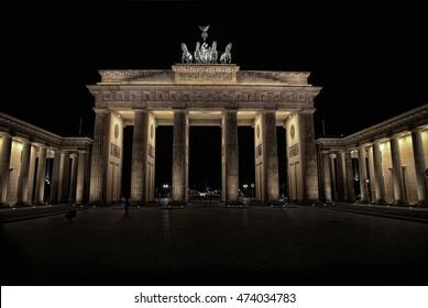 Brandenburg gate at night in Berlin, Germany