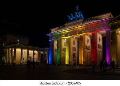 Brandenburg Gate at night, colorful illuminated