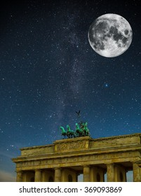 Brandenburg Gate night. Under the light of the stars the Milky Way galaxy