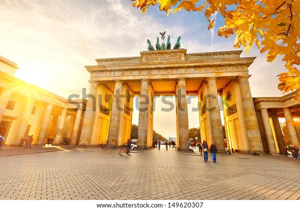 Brandenburg gate at sunset, Berlin