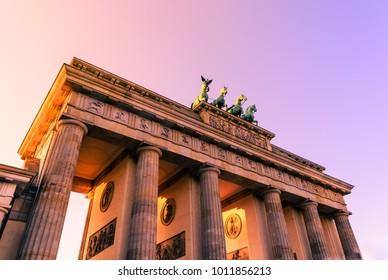 Brandenburg gate at sunset in Mitte district Berlin Germany