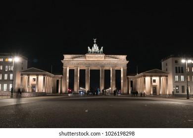 the Brandenburger Gate in Berlin by night