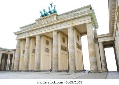 Brandenburger gate Isolated on white background, the famous landmark of berlin, germany