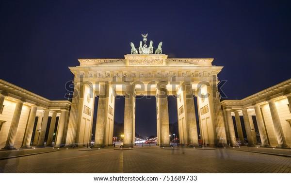 Brandenburger Gate at night with blue skies, Berlin