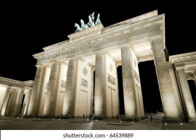 Brandenburger Tor in Berlin, Germany by night.