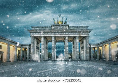 The Brandenburger Tor in Berlin, Germany, during a snowstorm in winter