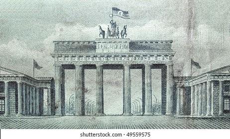 Brandenburger Tor (Brandenburg Gate), famous landmark in Berlin, Germany - on DDR bank notes