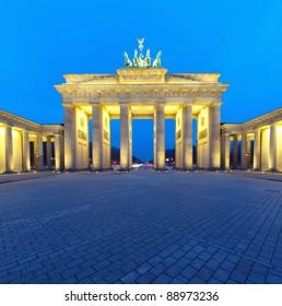Brandenburger Tor (Brandenburg Gate) panorama, famous landmark in Berlin Germany at night