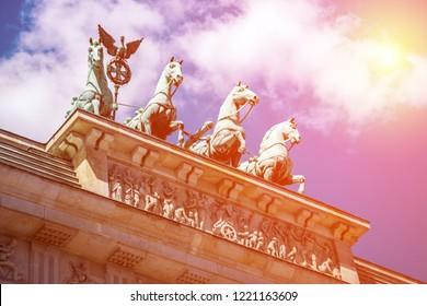 brandenburger tor with sunshine sky