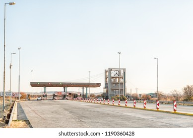 BRANDFORT, SOUTH AFRICA, AUGUST 2, 2018: The Brandfort Toll Plaza, representing a mine headgear, between Brandfort and Bloemfontein in the Free State Province Province at sunset