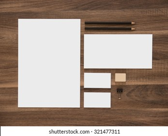 Branding mockup. Letterhead, envelope and blank business cards. Simple corporate design presentation template.