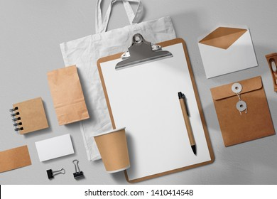 branding mockup with many craft paper and white items