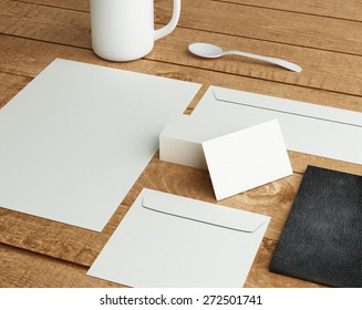 branding mockup on wood table