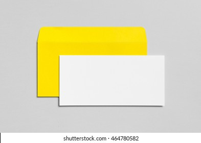 Branding / Stationery Mock-Up - Yellow & White - DL Envelope, Compliments Slip (99x210mm)
