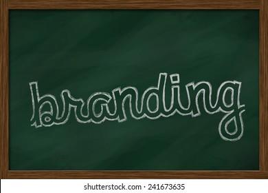 branding word written on chalkboard