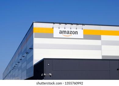 Brandizzo, Italy - March 31, 2019: Amazon establishment in Piedmont, Italy