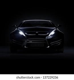 Brandless black sports car