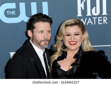 Brandon Blackstock and Kelly Clarkson at the 25th Annual Critics' Choice Awards held at the Barker Hangar in Santa Monica, USA on January 12, 2020.