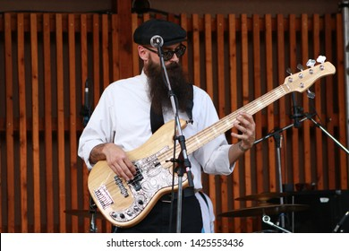 Brandon Dautrich Bass Player for the Band MILLK (Main Intent Live Like Kings) at the FIBARK Festival, Salida, CO/USA (June 15, 2019)
