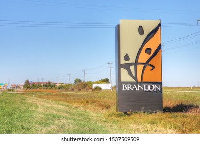 BRANDON, MANITOBA/CANADA – SEPTEMBER 23 2019: A Welcome sign to Brandon, Manitoba, Canada. Brandon is the second largest city in Manitoba