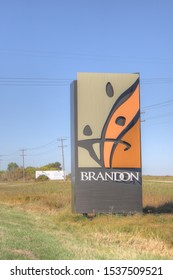BRANDON, MANITOBA/CANADA – SEPTEMBER 23 2019: A Vertical of welcome sign to Brandon, Manitoba, Canada. Brandon is the second largest city in Manitoba