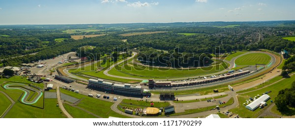 Brands Hatch, Kent / UK - September 1st 2018: Aerial View of Brands Hatch racing circuit, located in West Kingsdown, Kent, UK