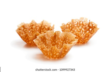 Brandy  snap baskets isolated on white
