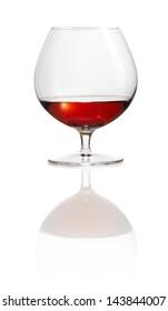 Brandy snifter isolated on white Plexiglass