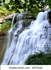 Brandywine Falls in Ohio in the late afternoon on a summer day