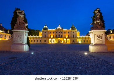 The Branicki Palace at night in Bialystok, Poland