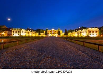The Branicki Palace at night in Bialystok, Poland