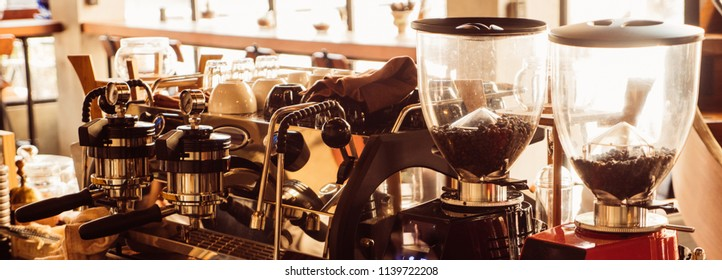 Branner of coffee machine in coffee shop.