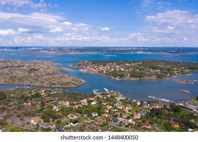 Branno Island, Gothenburg. Aerial view Branno island with Aspero, Rivo island and Gothenburg in background. Swedish countryside and small fish harbours and villages or towns near Gothenburg, Sweden.