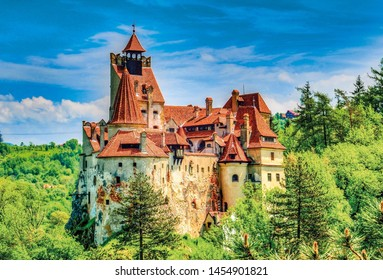 Bran/Romania- 07/06/2019  photo of the architecture of Bran Castle (Dracula castle), taken from the outside of structure