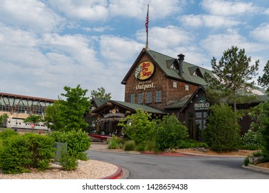 BRANSON, MISSOURI/ USA-MAY 28,  2019 - Bass Pro Shops building in Branson, Missouri at the Branson landing