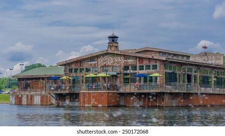 BRANSON, MISSOURI-MAY 24, 2015: White River Fish House Restaurant on Lake Taneycomo owned by Bass Pro. It was voted best overall restaurant in 2014 by 417 Magazine.