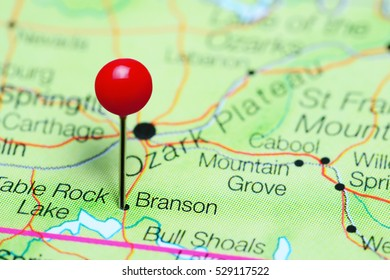 Branson pinned on a map of Missouri, USA