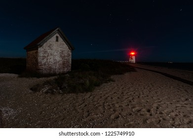 Brant point lighthouse shining in the dark, Nantucket, Massachusetts